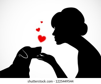 Silhouette of a young female holding cute dog's Jack Russell Terrier muzzle on her palm. Friendship of a person and a pet. Conceptual vector illustration on white background with red hearts.
