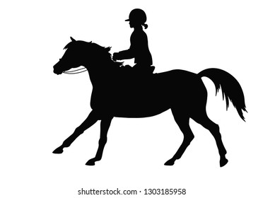 Silhouette of a young girl cantering on a sport pony.