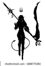 The silhouette of a young girl dark elf demon, she is a sorceress floating in the air with a staff that is both a flag and a spear, above her head a spiked crown, behind her back a tail with an arrow