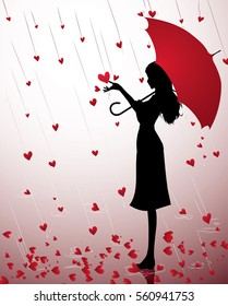 A Silhouette of a young girl with a red umbrella under the heart rain
