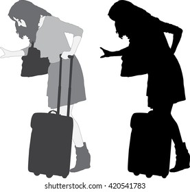 Silhouette of the young girl with a suitcase