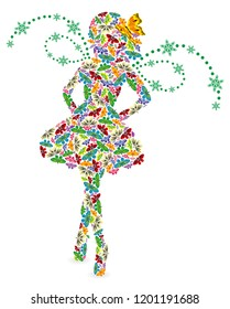 Silhouette of a young girl with wings, made of colorful butterflies on a white background