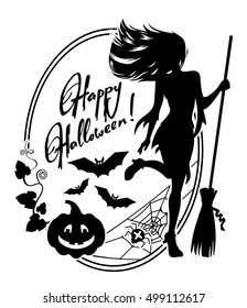 """Silhouette of a young girl in the witch costume and holiday greeting """"Happy Halloween!"""".Vector clip art."""