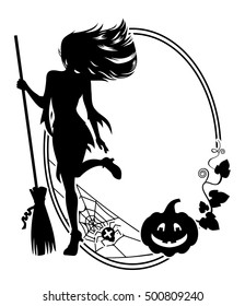 Silhouette of a young girl in the witch costume, broom, spider, Jack-o'-lantern. Oval frame background. Vector clip art.