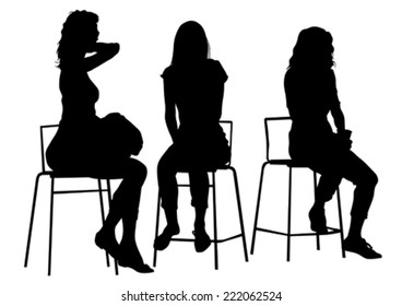 Silhouette young girls on white background