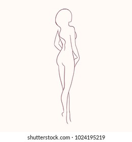 Silhouette of young gorgeous sexy naked woman with slim figure hand drawn with contour lines. Outline of nude female character isolated on light background, back view. Monochrome vector illustration.