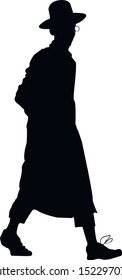 Silhouette of a young Hasid Jew. Jew with glasses. Religious Jew in a traditional costume. The man in the hat. Isolated vector illustration black and white color.