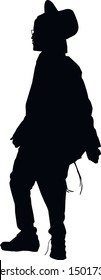 Silhouette of a young jew. Hasid is a religious Jew in traditional clothing. A man in a hat, tzitzit and talit katan. Isolated vector illustration. Black on white.
