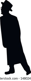 Silhouette of a young Jewish man in a hat, a long coat. Religious Jew in a traditional costume. Hasid with sidelocks. A man walking forward. Isolated vector illustration. Black on white.