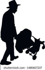 Silhouette of a young male Jew with a stroller. Religious Jews in traditional costume. Hasid with sidelocks. Jew rolls a carriage with a child. Isolated vector illustration. Black on white.
