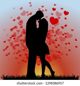 Silhouette of young man and girl on the background of the sunset. Hugs and kisses. Happy Valentines Day. Flyer, banner or poster. Vector illustration.