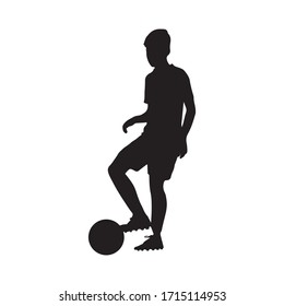 The silhouette of young man kicking football on white background : football or soccer sport modern concept vector