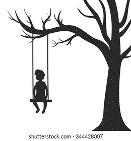 Silhouette of a young man sitting on a swing and a tree. The concept of loneliness, reflection on the life, union with yourself, psychological problems, introvert, social problems of teenagers