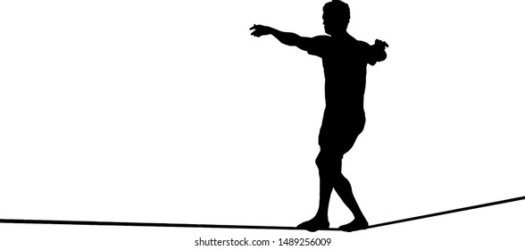 Silhouette of a young man walking on a tightrope. Vector illustration.