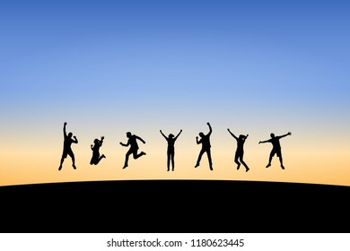 Silhouette of young man and woman jumping to celebrate success on top of hill, sky and sun light background. Business, successful, happy, teamwork and goal concept. Vector illustration.