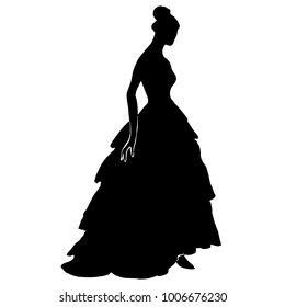 Silhouette of a young pretty woman in long dress with frill, fluffy skirt. Bride silhouette in luxury ball gown for design, prints, posters, decor, web. Slim female model in antique dress with corsage