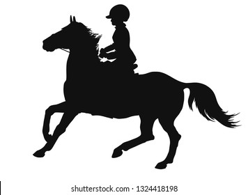 Silhouette of a young rider cantering on a sport pony.