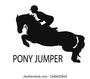 Silhouette of a young rider and pony jump, equestrian sport