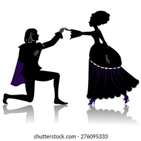 Silhouette of young royal romantic couple, dancing on ball