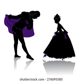 Silhouette of young royal romantic couple, preparing to dance on ball