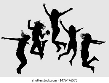 Silhouette of a young slender skinny girl who is having fun jumping up