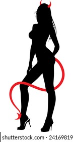 Silhouette of a young slim woman with devil tail and horns, posing on camera. Side view.