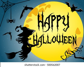 Silhouette of young witch flying on a broom against full moon with Happy Halloween text superimposed