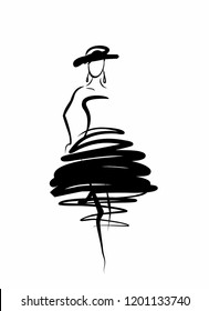 silhouette of a young woman in coktal dress