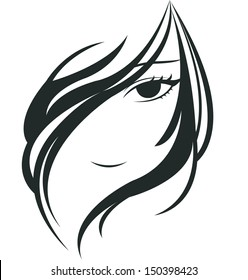 silhouette of young woman face