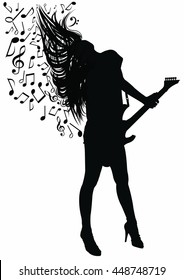 Silhouette of a young woman playing guitar