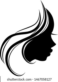 a silhouette of a young woman profile.