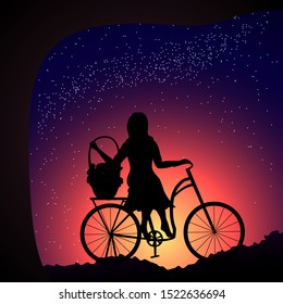 Silhouette of a young woman sitting on a bicycle, holding a basket of flowers and looking at the starry sky