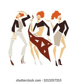 Silhouette young woman. Stylization fashion girls. Handmade illustration