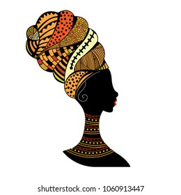 Silhouette of young woman in traditional turban, Object isolated.  Good to use in fashion and travel industry