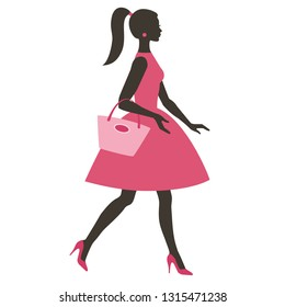 Silhouette of young women with bag, vector illustration for design: banner, card, logotype, flyer.