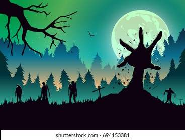 Silhouette Zombie arm reaching out from ground in a full moon night. Ideal for nightclub poster green theme