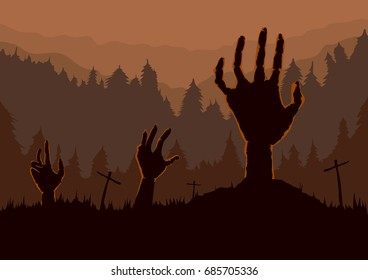 Silhouette of Zombie Hand rising out of the ground in the Graveyard at night. This illustration is Halloween theme.