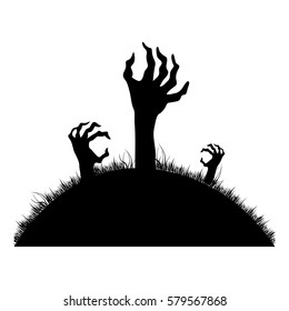 silhouette Zombie hands coming out of the ground