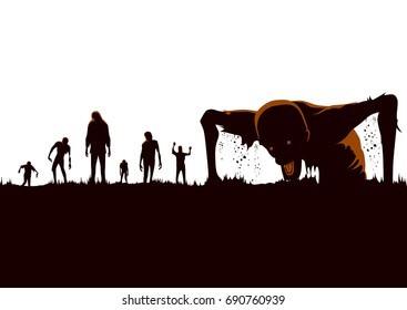 Silhouette of Zombie hordes rising out of the ground isolated on white.