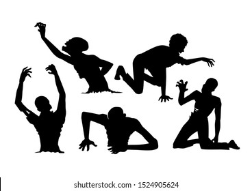 Silhouette Zombie in Resurrection action and crawl on the floor. Vector element for horror theme.
