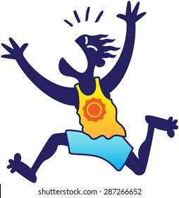 Silhouetted blue man wearing a yellow tank and blue shorts while looking scared, yelling nervously, asking for help and running away frenetically with his arms up