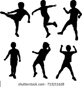 silhouetted boy active dancing vector