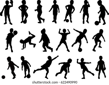 Silhouetted boy active vector