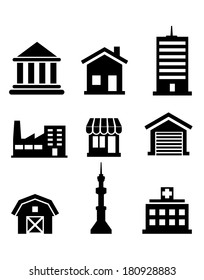 Silhouetted buildings and architectural icons logo depicting church, temple, hospital, tower, shop, market, office, factory, house and farm