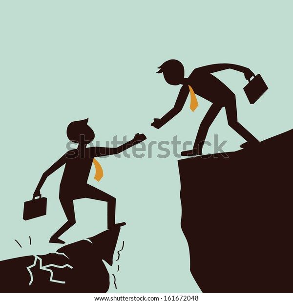 Silhouetted bussiness man giving hand to help each other from failed situation, representing to help across abyss.