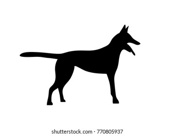 Silhouetted dogs. Belgian Shepherd Dog Malinois. Symbol of the year 2018. Vector. Black and white style.