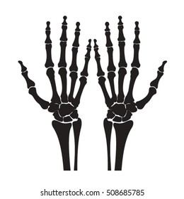 silhouetted hand skeleton-vector drawing