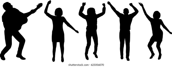 Silhouetted people dancing vector illustration