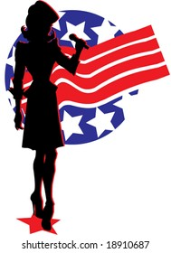 Silhouetted retro patriotic girl against backdrop of stars and stripes