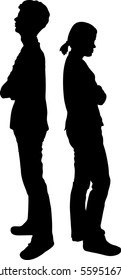 Silhouetted vector of man and woman turning their back to each other, business concept in conflict, angry, arguing breakdown or divorce. couple standing back to back man and woman sad